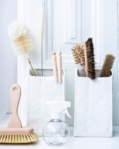 white cleaning supplies