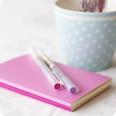 pretty notebook and pen
