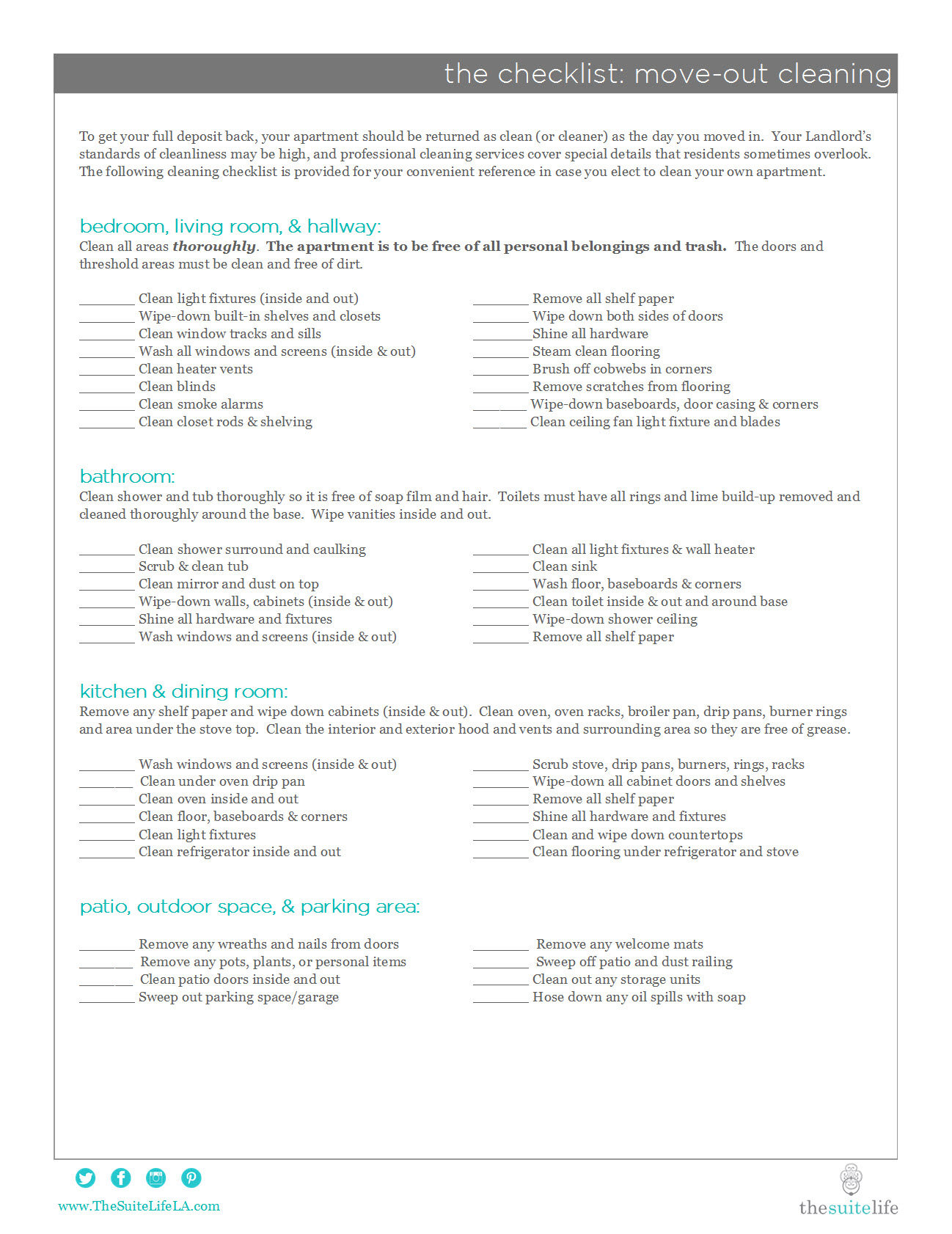 Apartment Movein Checklist Apartment Move Out Cleaning Checklist In ...