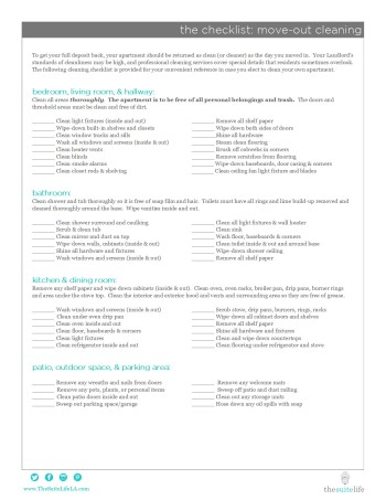 The Suite Life - Move Out Cleaning Checklist