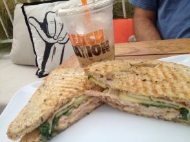 beach nation_turkey panini and iced latte